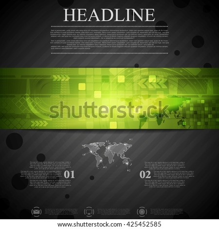 Brochure dark technology template with green banner element. Arrows, world map  and tech gear vector layout background. For web, flyer and brochure print. Green tech banner on black template - stock vector