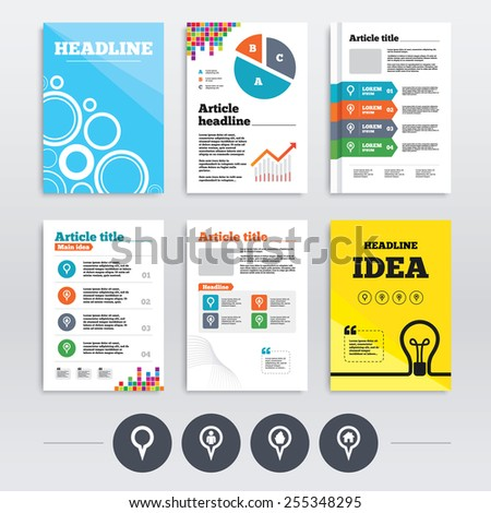 Brochure design and A4 flyers. Map circle pointer icons. Home, food and user location symbols. Restaurant and cupcake signs. You are here. Infographics templates set. Vector - stock vector