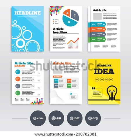 Brochure design and A4 flyers. Top-level internet domain icons. Com, Eu, Net and Org symbols with globe. Unique DNS names. Infographics templates set. Vector - stock vector