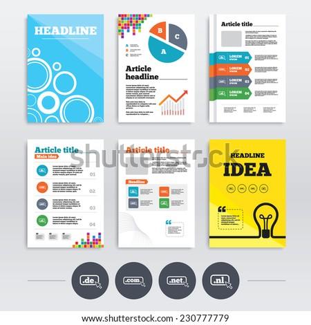 Brochure design and A4 flyers. Top-level internet domain icons. De, Com, Net and Nl symbols with cursor pointer. Unique national DNS names. Infographics templates set. Vector - stock vector