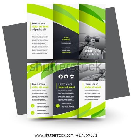 Brochure design, business brochure template, creative tri-fold, trend brochure ribbon - stock vector
