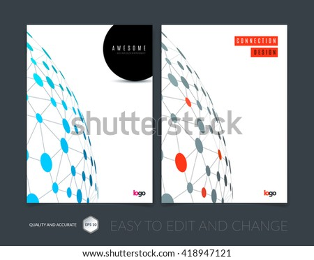 Brochure design, flyer, leaflet, with blue abstract molecule structure, genetic and chemical compounds. Cover template layout with science and connection concept or social network. Business Vector. - stock vector