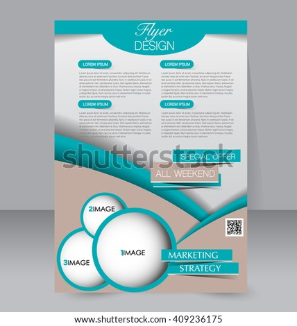 Brochure design. Flyer template. Editable A4 poster for business, education, presentation, website, magazine cover. Green color