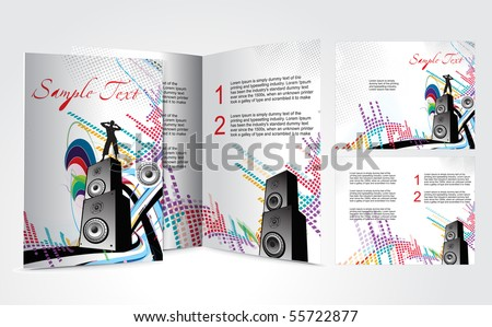 Brochure Design Music Concept Vector Illustartion Stock Vector