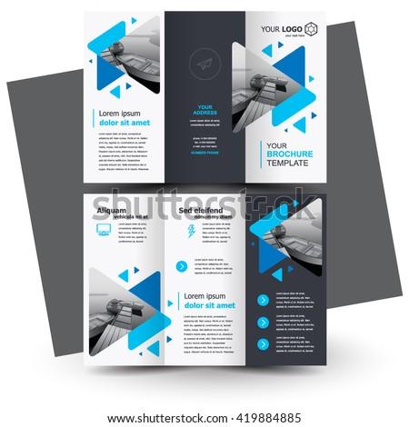 Brochure design, geometric abstract business brochure template, creative tri-fold, trend brochure triangles - stock vector