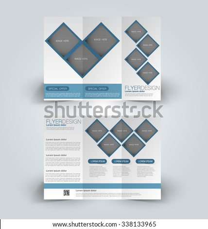 Brochure design template. Abstract background. for business, education, advertisement. Trifold booklet editable printable vector illustration.  Blue color. - stock vector