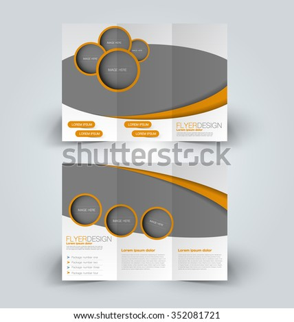 Brochure design template. Abstract background. for business, education, advertisement. Trifold booklet editable printable vector illustration.  Orange color. - stock vector