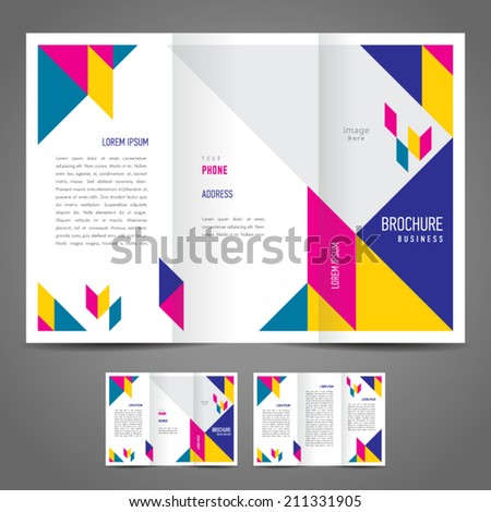 brochure design template abstract figure colored  - stock vector