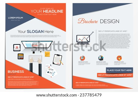 Brochure Design Template.  Abstract Modern Backgrounds, Infographic Concept.Flat design. Vector - stock vector