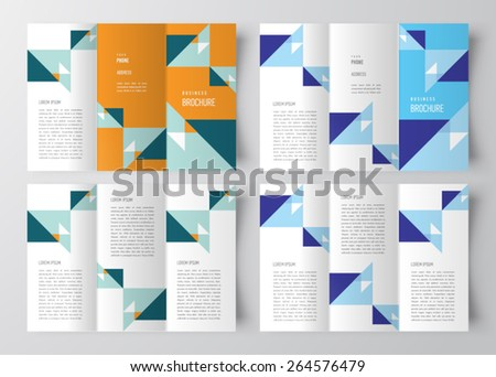 brochure design template abstract triangles set - stock vector