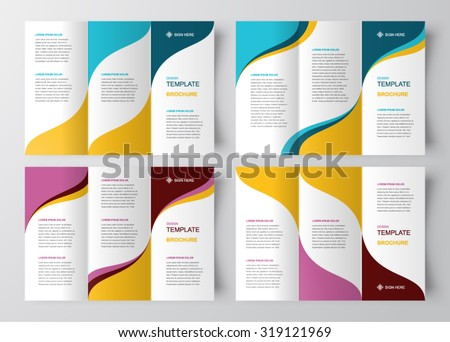 brochure design template abstract waves curves set - stock vector