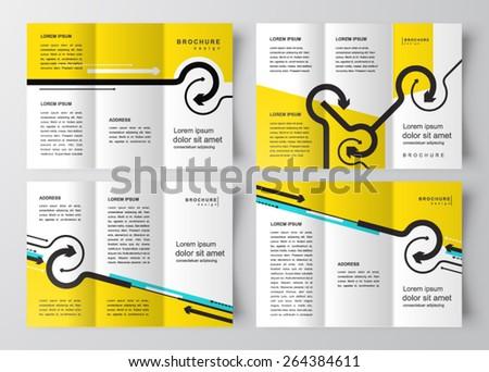 brochure design template arrows lines circles set - stock vector