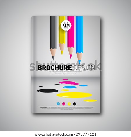 Brochure design template cover book, cmyk polygraphy - stock vector