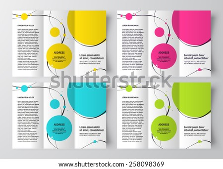 brochure design template curves circles colored - stock vector