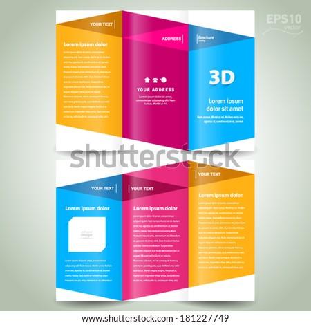brochure design template - 3d dimensional folder leaflet colored element white background - stock vector