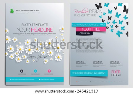 Brochure Design Template. Flower concept, Abstract Modern Backgrounds, Infographic Concept. Vector - stock vector