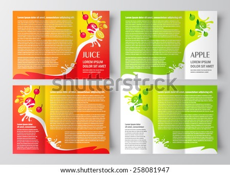 Brochure design template juice fruit drops stock vector for Mac brochure template