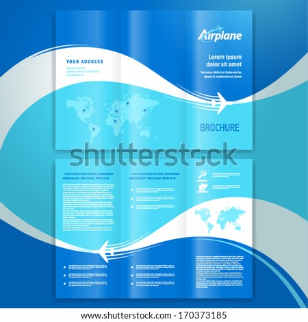 brochure design template leaflet airplane way - stock vector