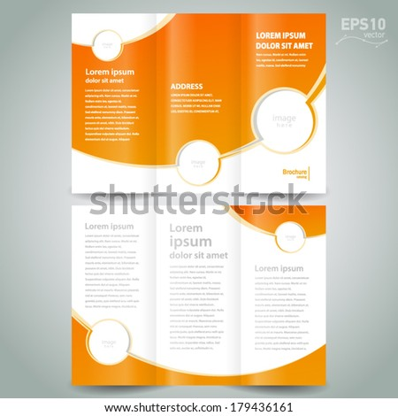brochure design template orange white curves color, frame for images - stock vector