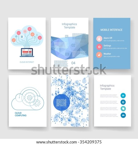 Brochure design template set. Templates. Design Set of Web, Mail, Brochures. Modern flat and line icons. SaaS, web app design template. Mobile interface. UI template. Web UI app design. - stock vector