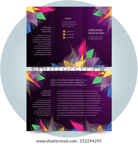 brochure design template tri-fold abstract slices glass transparent colorful - stock vector