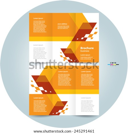 brochure design template tri-fold abstract speed, cmyk profile - stock vector