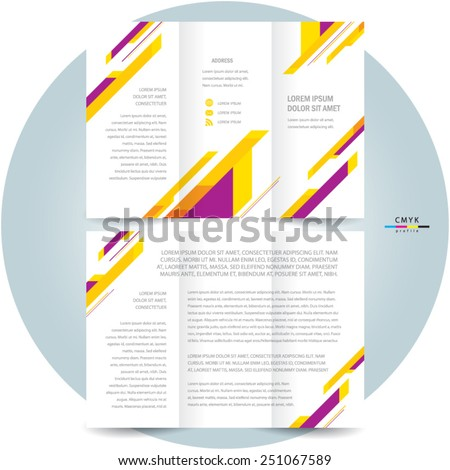brochure design template tri-fold abstract stripes colorful - stock vector