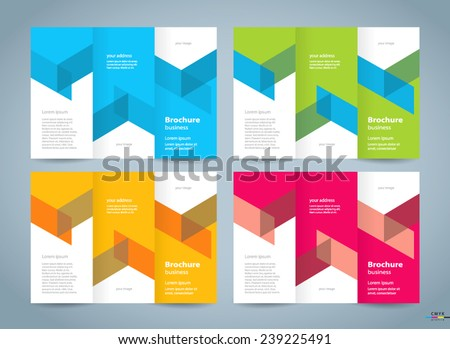 brochure design template tri-fold, cmyk profile - stock vector