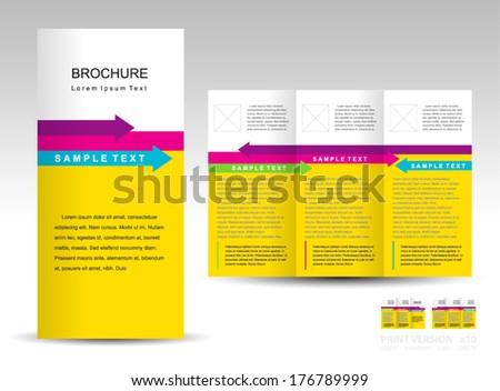 brochure design template tri-fold layout arrow colored  - stock vector
