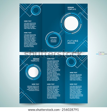 brochure design template trifold futuristic hi-tech - stock vector