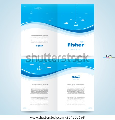 brochure design template vector booklet fisher, cmyk profile - stock vector