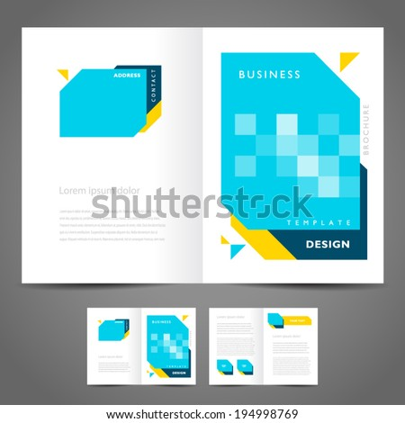 brochure design template vector - booklet geometric abstract figure - stock vector