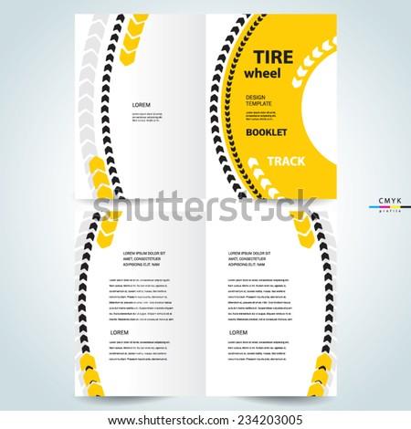 brochure design template vector booklet tire wheel track abstract, cmyk profile - stock vector