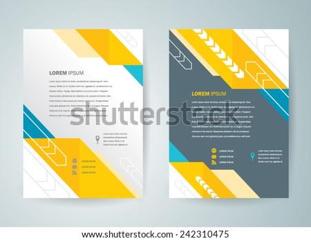brochure design template vector flyer abstract arrows, cmyk profile - stock vector