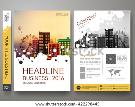 Brochure design template vector.Flyers annual report business magazine poster.Leaflet cover book presentation with abstract circle background and flat city. Layout in A4 size.illustration. - stock vector