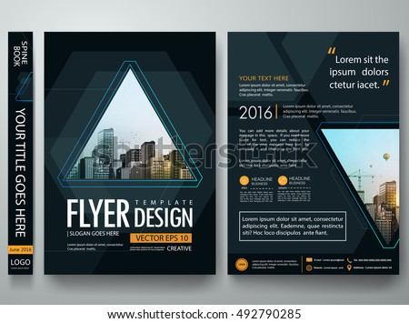 Brochure design template vector.Flyers report business magazine party night poster layout portfolio.Abstract blue hexagon cover book portfolio game presentation.Black poster triangle design a4 layout.