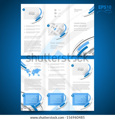 brochure design template vector folder leaflet geometric abstract element color blue grey line white background, block for images - stock vector