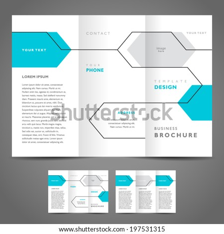brochure design template vector geometric abstract line - stock vector
