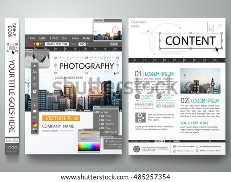 Brochure Design Template Vectorphotography Editor Monitorcover ...