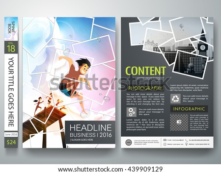 Brochure design template vector.Photography flyers business magazine poster template.Cover book portfolio photography presentation.Picture collage on poster design.Summer design on a4 brochure layout. - stock vector