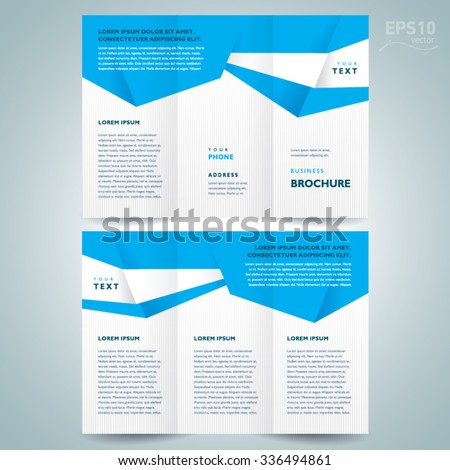 brochure design template vector tri-fold abstract polygons - stock vector