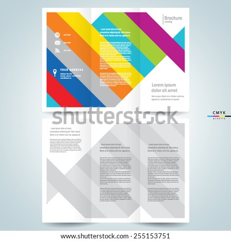 brochure design template vector tri-fold abstract stripes colored lines