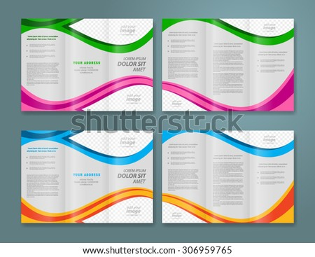 brochure design template vector tri-fold abstract waves curves - stock vector