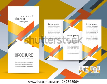 Brochure design template vector tri-fold geometric abstract
