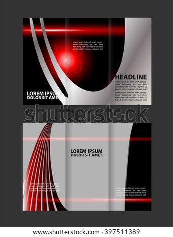 brochure design template vector tri-fold geometric abstract blue color