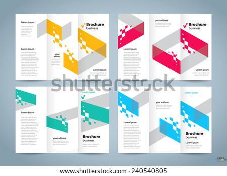 brochure design template vector tri-fold geometric abstract, cmyk profile - stock vector