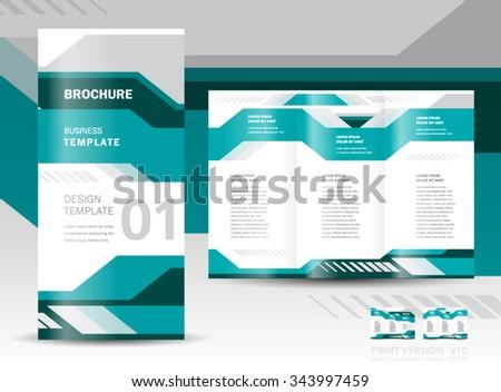 brochure design template vector tri-fold geometric abstract tech - stock vector