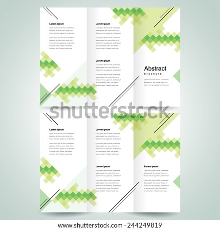 brochure design template vector tri-fold pixels mosaic abstract - stock vector