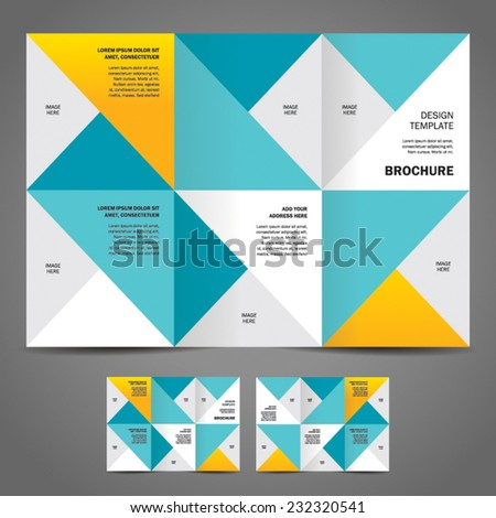 brochure design template vector trifold geometric abstract, cmyk profile - stock vector