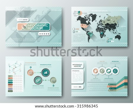 Brochure Design Templates, Infographic vector elements. Modern styled graphics for data visualization. Can be used in website, flyer, corporate report, presentation, advertising, marketing, etc. - stock vector